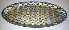 Yankee Candle Gorgeous Glass SILVER & GOLD MOSAIC XL Candle Plate Tray NEW Box