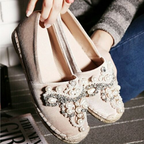 Toe Slip Loafer With Shoes Bling Frisherman Round Bottom Hemp Pearls Ons HxwZ5Uq