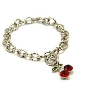 The-Olivia-Collection-Silvertone-Red-Rhinestones-Cherries-T-Bar-8-Inch-Bracelet