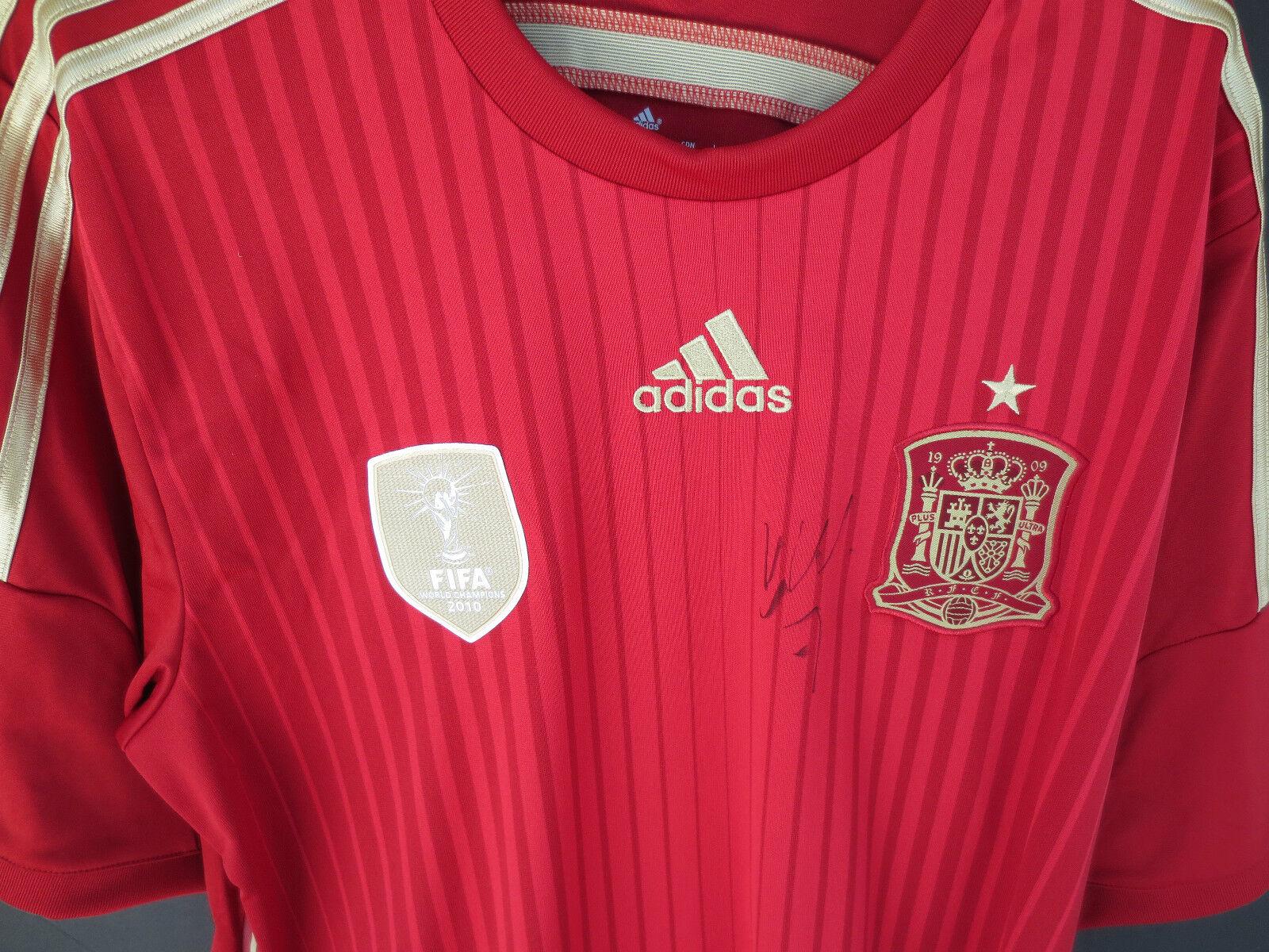 España-David Villa Mano Firmada Copa del Mundo Jersey-Nuevo-Foto prueba & Coa