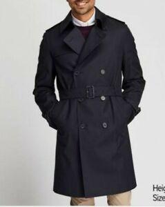 BNWOT UNIQLO men's classic black cotton double breasted trench coat w/belt szM