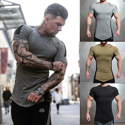 Men Fitness Custom Quick Dry Gym Sport T-Shirts Tight Fit for Bodybuilding Wear