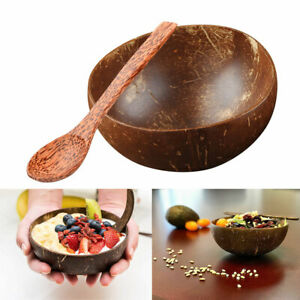 Eco-friendly-Natural-Handmade-Coconut-Shell-Bowl-Spoon-Salad-Fruit-Tableware