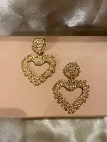 Inspired DG Gold Heart Dangle Earrings