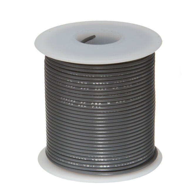 """26 AWG Gauge Stranded Hook Up Wire Gray 100 ft 0.0190"""" PTFE 600 Volts"""