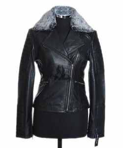 Jacket Fur Collar Zoey Leather New Lambskin Style Soft Ladies Biker Black Real xfnw16