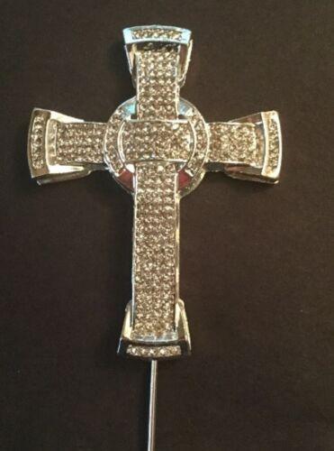 Argent grande croix cake topper décoration communion Église Confirmation
