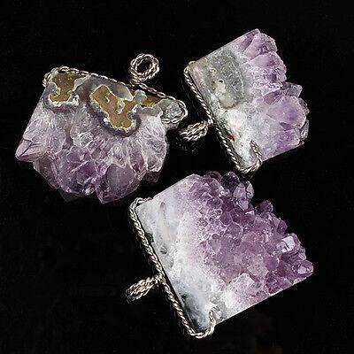 Natural Amethyst Clusters Druzy Quartz Crystal Random Winding Pendant Jewelry