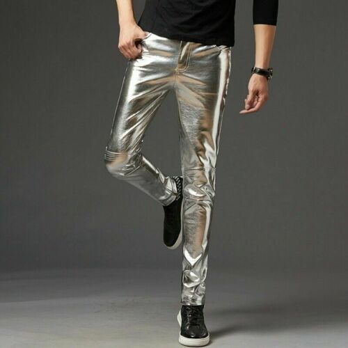 Uomo Similpelle Pantaloni lungo Lucido Club Ballo Indumento Punk Gotico