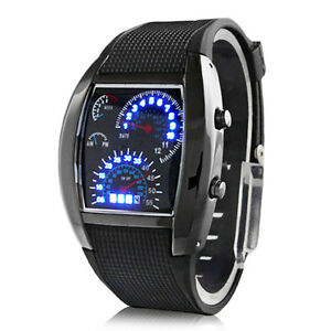 Digital-Herren-Uhr-Armbanduhr-blaue-Led-Tachometer-Optik-Blaues-Licht-Turbo-Auto