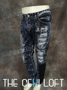 NEW-Mens-SWITCH-DESIGNER-Jeans-Taper-Fit-Legs-Faded-Rips-Dark-Wash-Urban-Hip-Hop