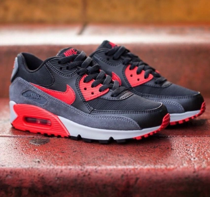 NIKE AIR MAX 90 ESSENTIAL 616730-020 WOMENS RUNNING TRAINING SHOES RED BLCK SZ 9