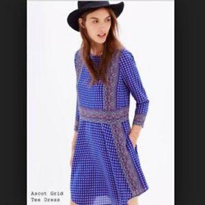 6622b6be509 Madewell Women s Blue Print Silk Tee LS Mini Dress In Ascot Grid ...