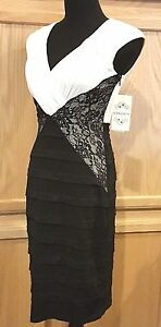 e6640dce082da1 Sangria Black Ivory V-Neck Stretch Jersey Sheath Bandage Dress w ...