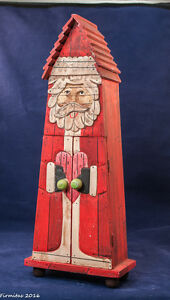 Tall Red Wooden Handcrafted Chridtmas Santa Card Holder/Storage Studio Nova new