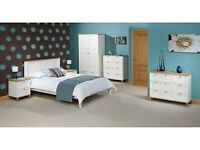 Boston Bedroom Furniture - Beds Wardrobe Chests - 3ft 4ft6 5ft - White & Ash