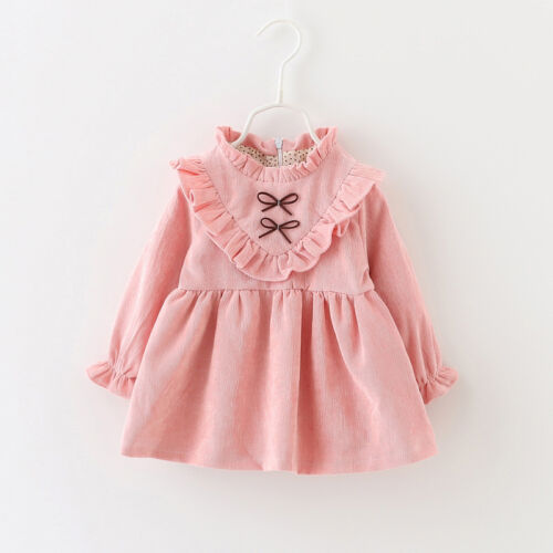 Baby Girls Kids Dress Long Sleeve Clothes Top Retro Victorian Party Prom Evening
