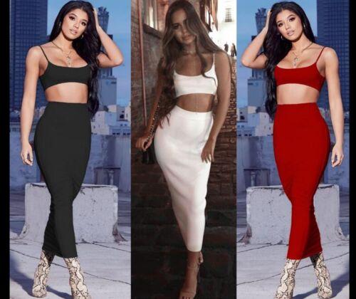 Womens 2 Piece Set Party Full Length High Waist Skirt Bodycon Maxi Dress Bra Top