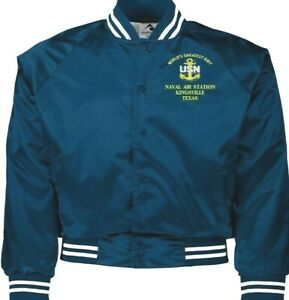 NAVAL AIR STATION KINGSVILLE TEXAS NAVY EMBROIDERED 2-SIDED SATIN JACKET