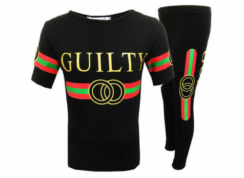 New Girls Guilty Tracksuit Sweatshirt Top /& Leggings Lounge Wear T Shirt 7-13