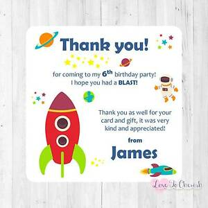 Personalised Thank You Cards Space Rocket Ship Any Age Boy S