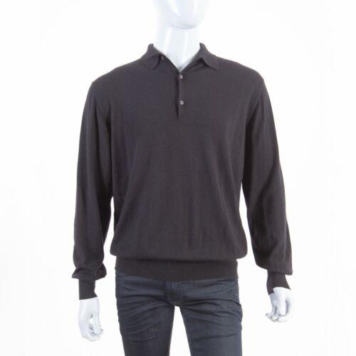 Loro Piana Men's Black 100% Cashmere Sweater Polo