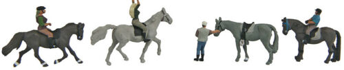 Walthers SceneMaster HO Scale People//Figures Horseback Riders 4-Pk