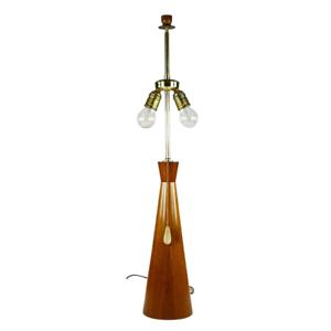 Tisch Lampe Teak Holz Diabolo Fuß Leuchte Teleskopstange Vintage 50er 60er Jahre