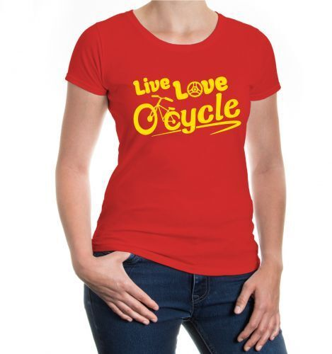 Cycle Fahrrad Liebe Leben cycling Love Damen Kurzarm Girlie T-Shirt Live