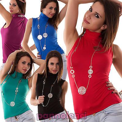 Lupetto smanicato donna collo alto dolcevita sottogiacca top maglia CC25