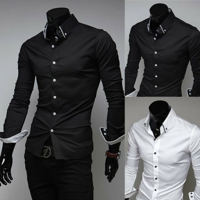 Mens Slim Fit Shirts Dress Shirts Luxury Stylish Shirt Long Sleeve Shirts 5 Size