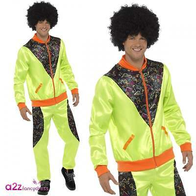 Acquista A Buon Mercato Mens 80's Retro Shell Suit Neon Green Trackie Scouser Adult Fancy Dress Costume Ulteriori Sorprese