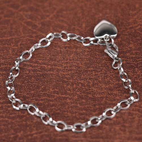 Stainless Steel Link Chain Bracelets With Finish Heart Charm Bracelet Jewelry