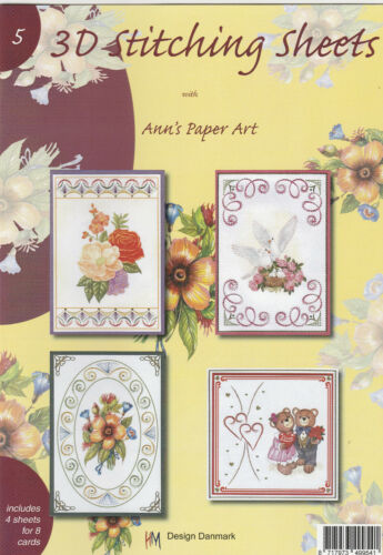 Ann/'s Paper Art No.5// 3D Stitching Decoupage Sheets Paperback Flower//Bear