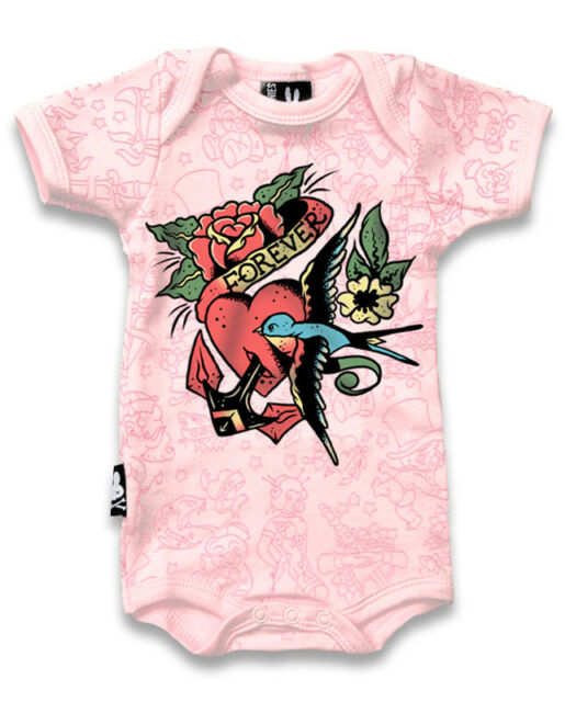 BABY ROMPER ROCKABILLY FOREVER TATTOO HEART SWALLOW GIFT BABY SHOWER SIX BUNNIES
