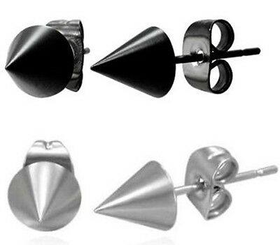 New Stainless Steel Spike Cone Punk Rock Earring Studs One Pair Black Silver