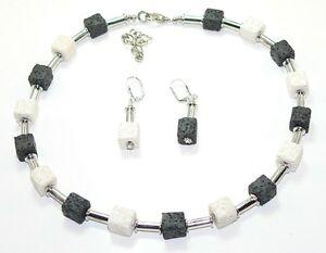 2er-Schmuckset-Halskette-Kette-Ohrringe-Wuerfel-Lava-schwarz-weiss-silber-216f