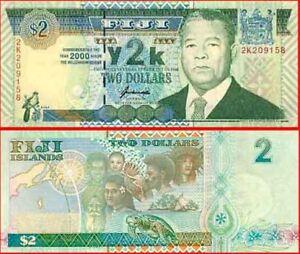 Fiji-Scarce-Y2K-Millenium-Yr2000-Commemorative-2-Paper-Banknote-issue-p102c