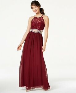 285 Speechless Junior Women Burgundy Red Sequin Rhinestone