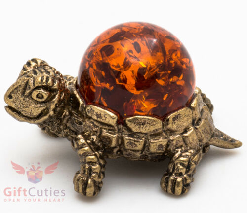 Solid Brass Amber Tortoise Turtle trio Figurine thimble talisman IronWork
