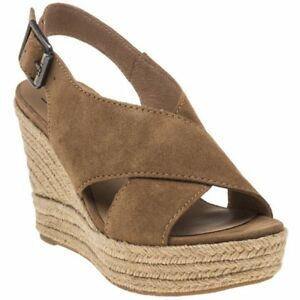 4fb4e2e32b5 Details about New WOMENS UGG® BROWN TAN HARLOW SUEDE SANDALS WEDGE