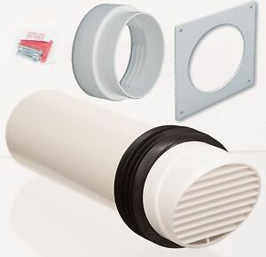 White High Rise Wall Vent Kit 100mm Tube For Extractor