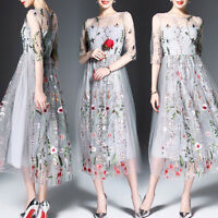 Long Women's Floral Embroidery Cocktail Evening Party Ball Prom Gown Maxi Dress