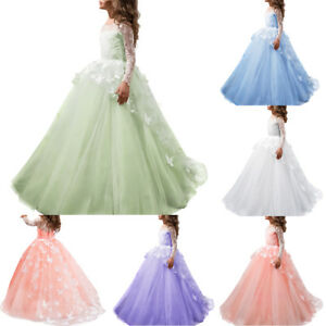 85a60bdc4 Image is loading Lace-Flower-Girl-Dress-Princess-Butterfly-Ball-Gown-