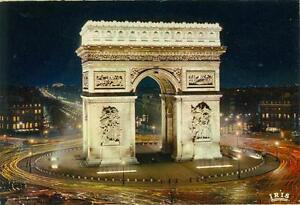 paris france arc de triomphe at night unused postcard iris
