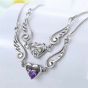Silver-Necklace-Dream-Angel-Wings-of-Love-Heart-Necklace-Female-Birthday-Gift-SP