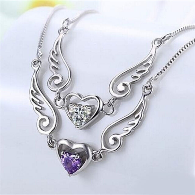 Silver Necklace Dream Angel Wings of Love Heart Necklace Female Birthday Gift SP