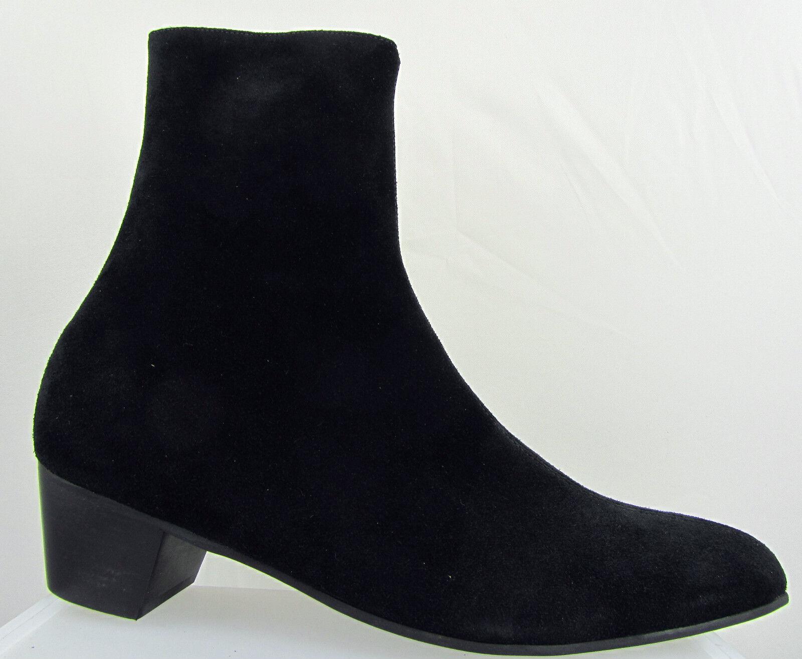Uomo Retro Lennon Neri in Pelle Stivali Scamosciata Zip Chelsea BEAT Stivali Pelle Tacco Cubano Beatle ORIGINALE b03803