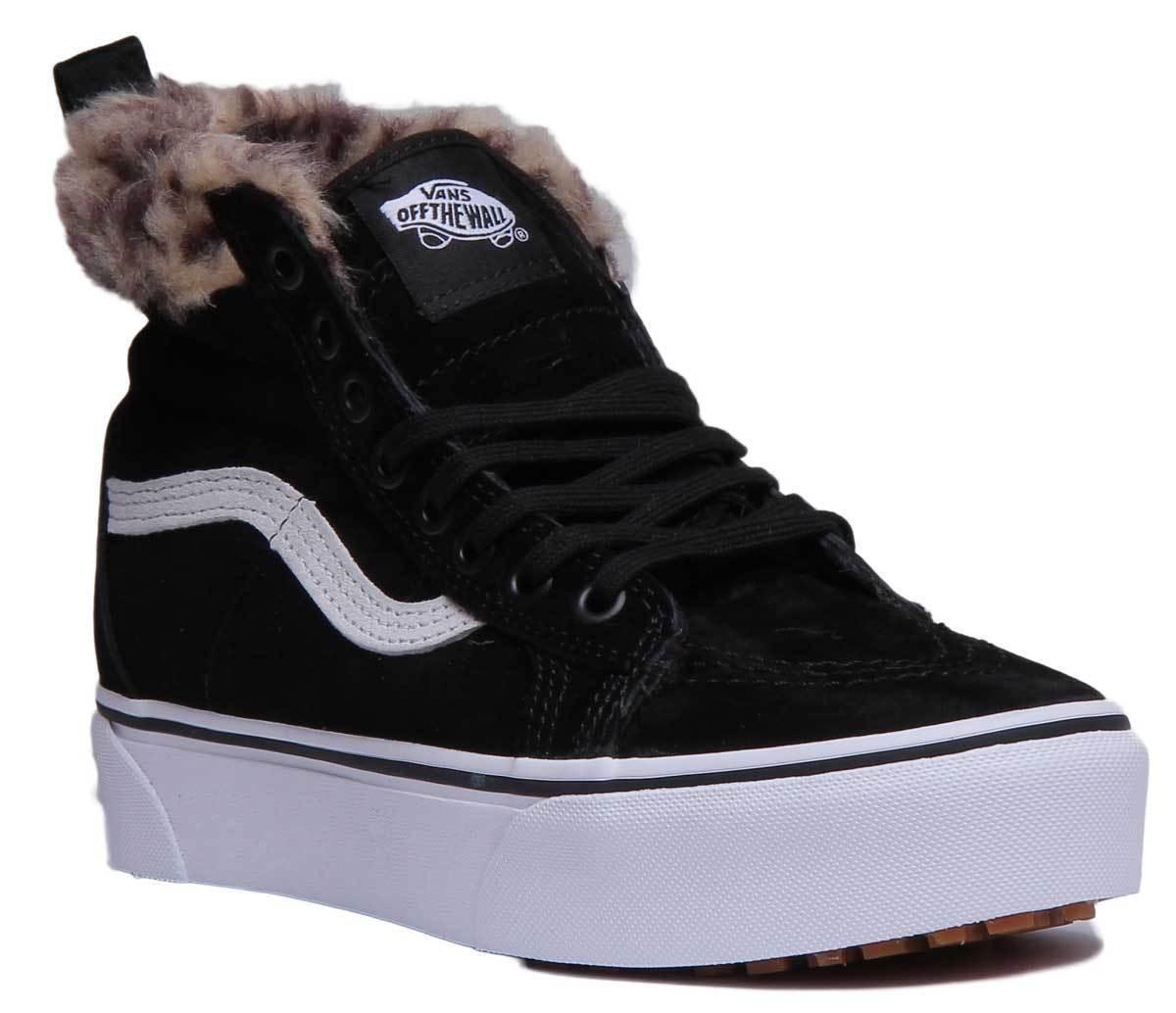 Vans SK8 HI Platform MTE Women Suede Leather Black Leopard Fur Hi Top Trainers U
