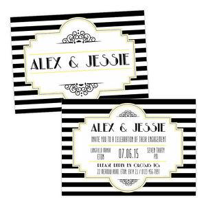 Personalised-engagement-party-invitations-BLACK-WHITE-1920-039-S-ART-DECO-FREE-ENVEL